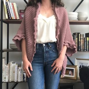 Anthropologie (Moth) Rose Colored Open Cardigan